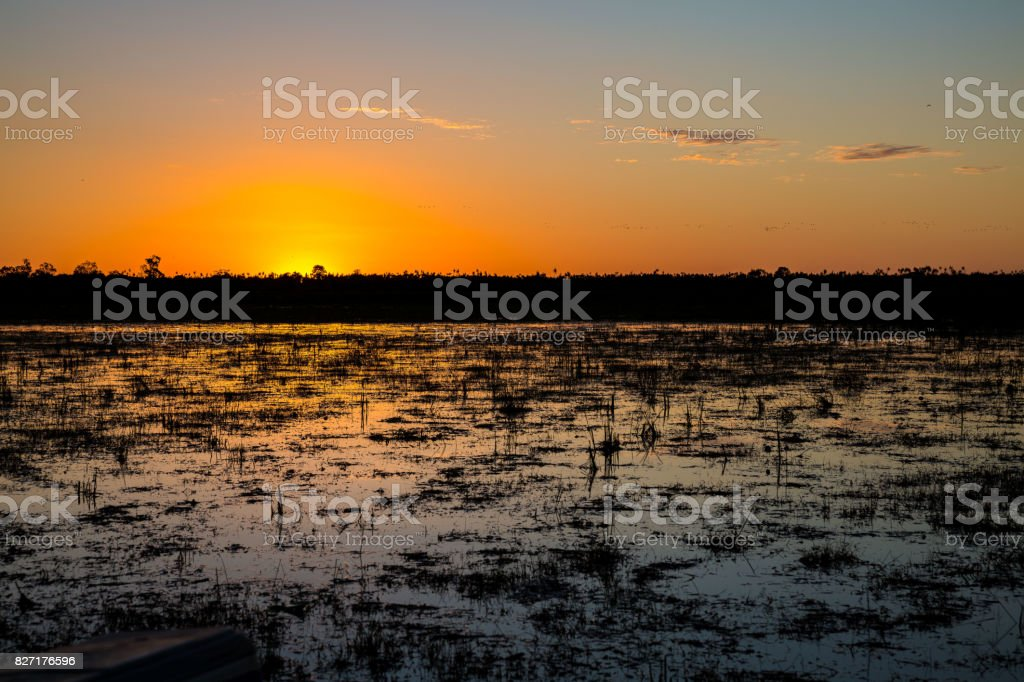 Sunset over the wetlands of the Mary River Flood Plain, NT, Australia stock photo