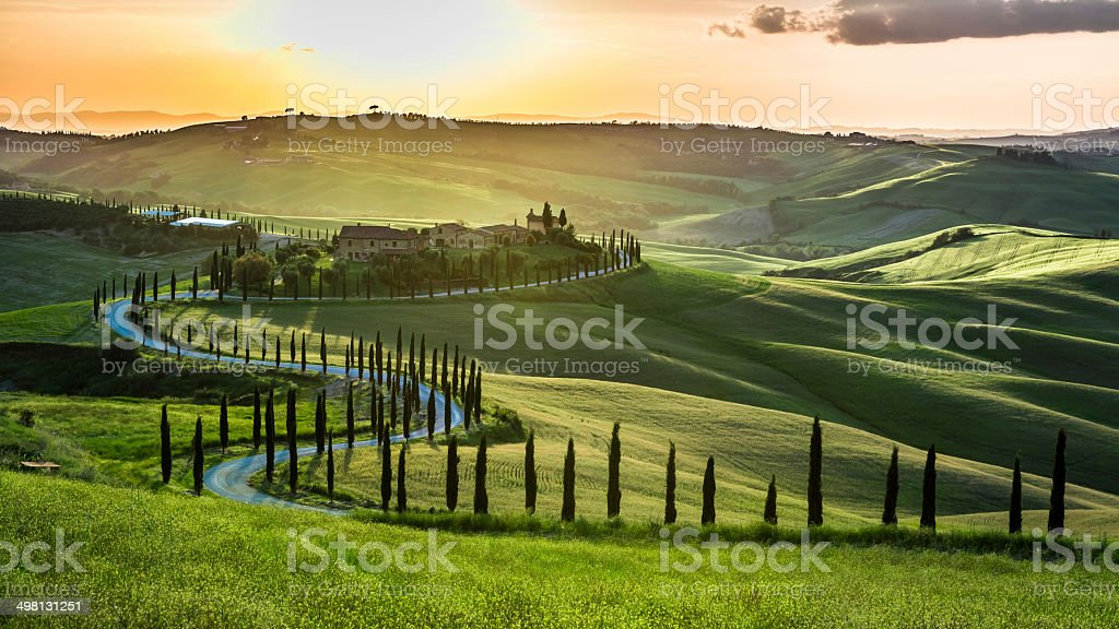 Sunset over the winding road with cypresses in Tuscany stock photo