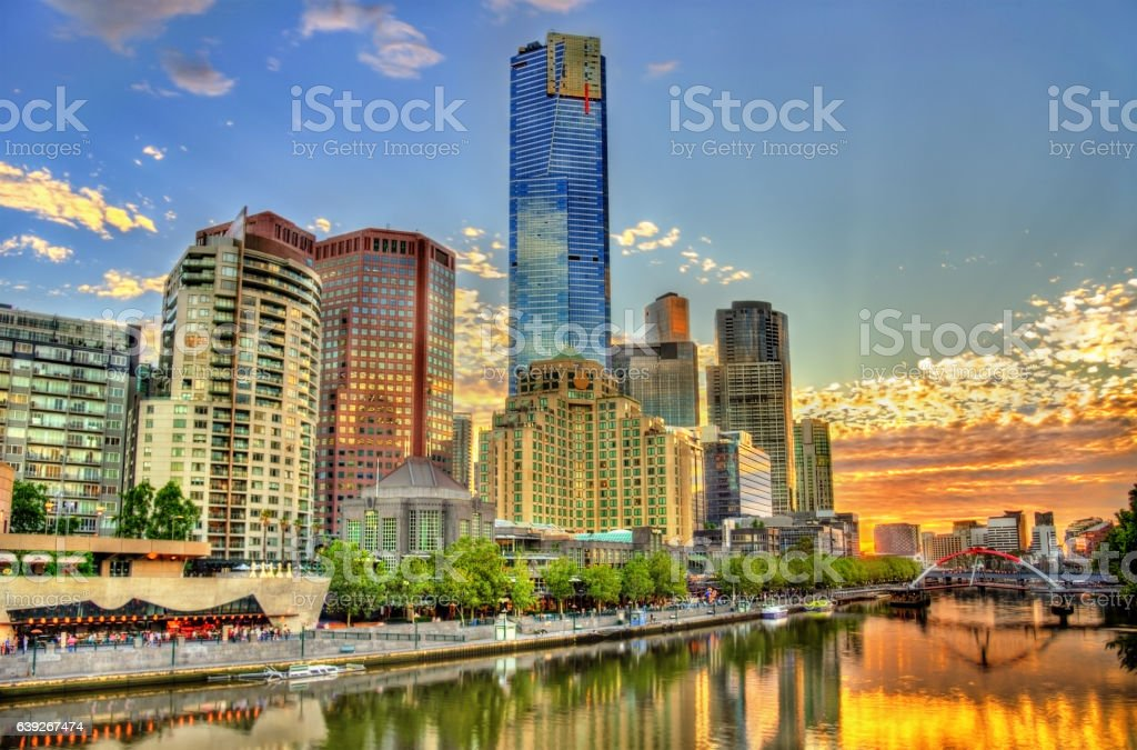 Sunset over the Yarra River in Melbourne, Australia stock photo