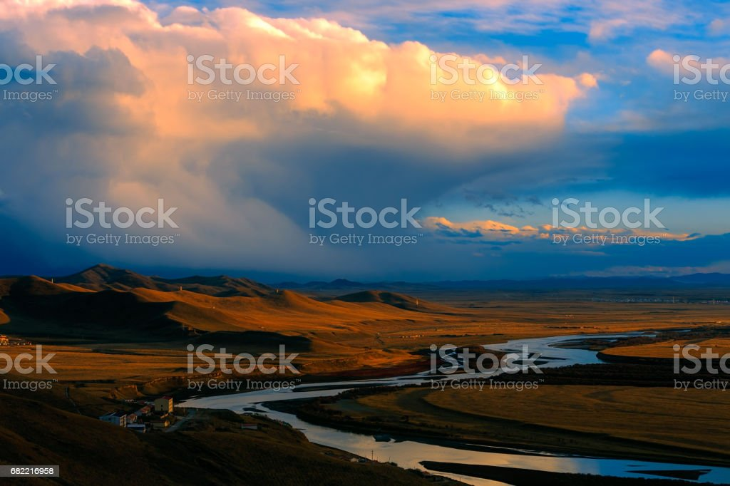 Sunset over the Yellow River in Gansu, China stock photo