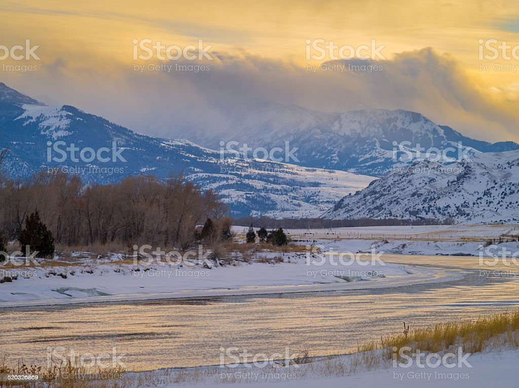 Sunset over the Yellowstone River, Paradise Valley, Montana stock photo