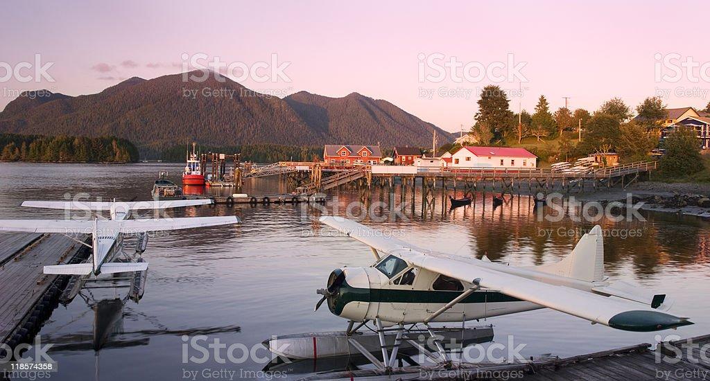 Sunset over Tofino Harbor, BC, Canada stock photo