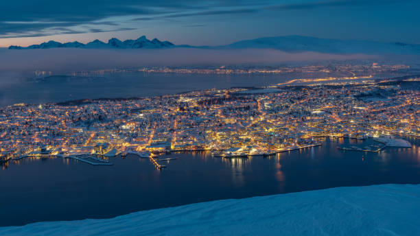 Sunset over Tromso, Norway during winter stock photo