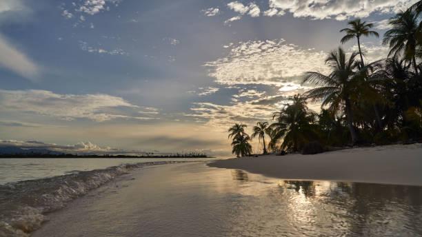 Sunset  over uninhabited island of archipelago San Blas, Panama stock photo