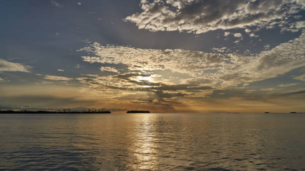 Sunset  over uninhabited islands of archipelago San Blas, Panama stock photo