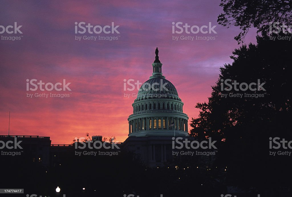 Sunset over U.S. Capitol copy space royalty-free stock photo