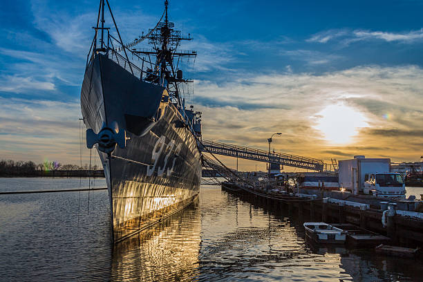 Sunset over USS Barry destroyer at the Washington Navy Yard stock photo