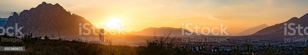 Sunset over Valle Poniente and La Huasteca mountains of Monterrey stock photo