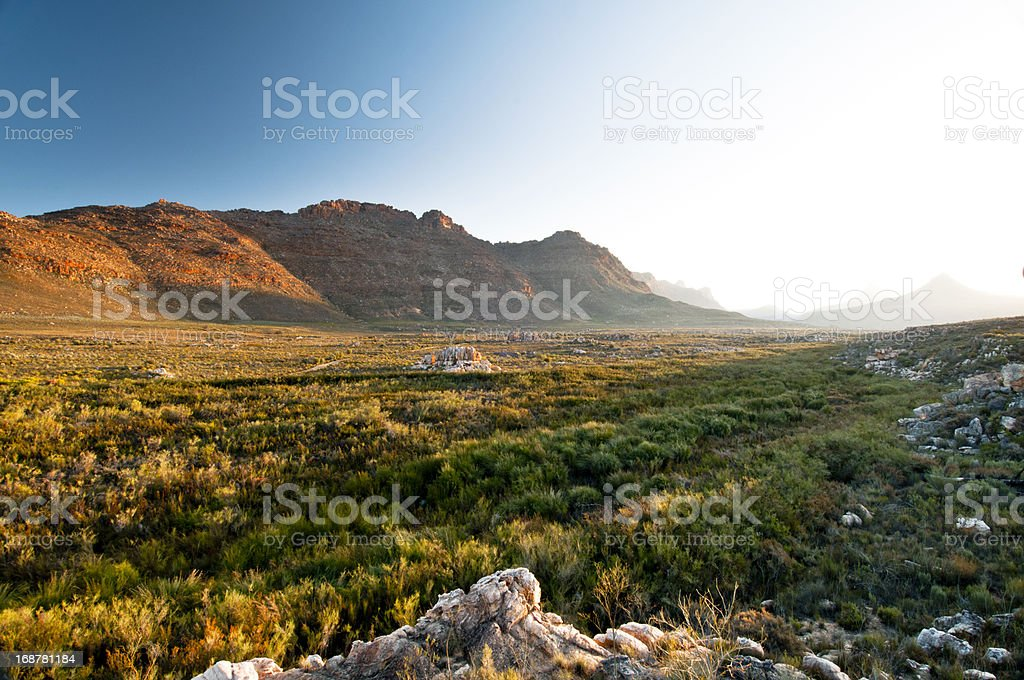 Sunset over valley in Cederberg Sunset over valley in Cederberg, Western Cape, South Africa. Cederberg Mountains Stock Photo