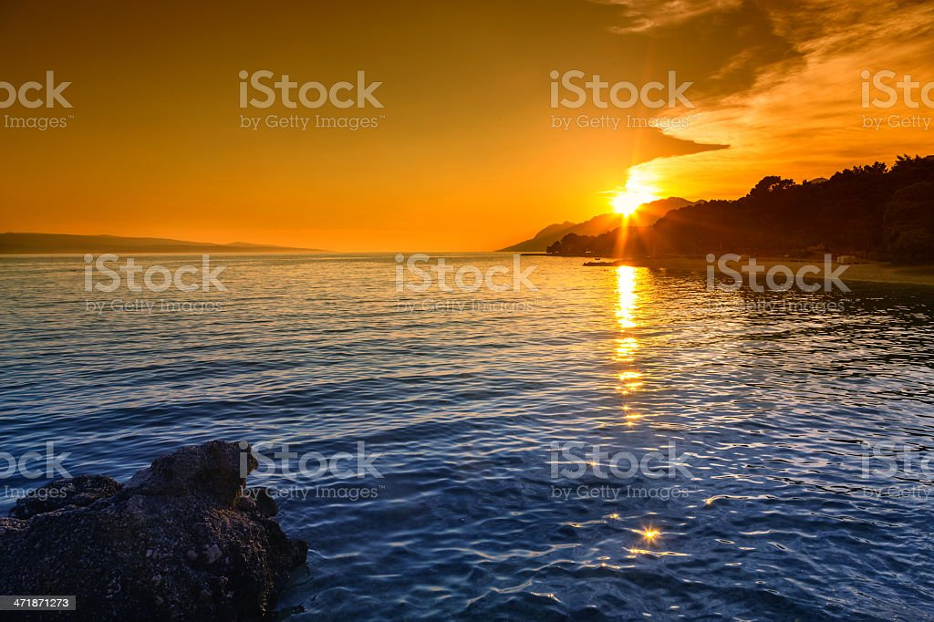 Sunset over vater royalty-free stock photo