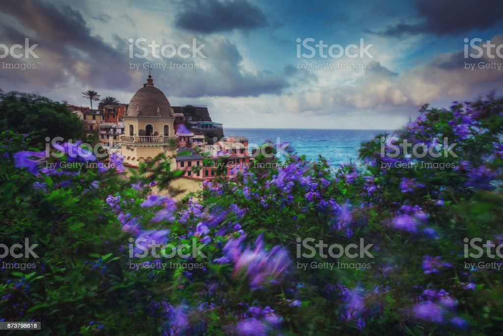 Sunset over Vernaza village, Cinque Terre, Liguria, Italy, Europe. stock photo