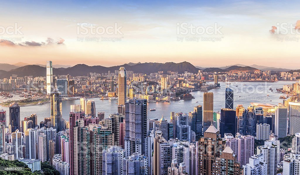 Sunset Over Victoria Harbor, Hong Kong stock photo