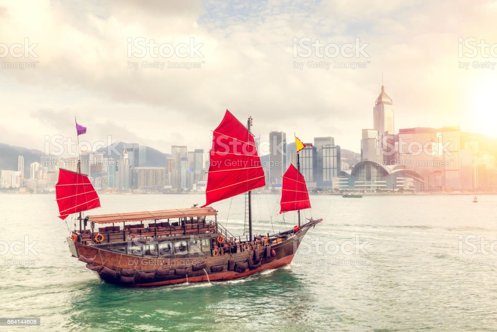 Sunset Over Victoria Harbour in Hong Kong stock photo