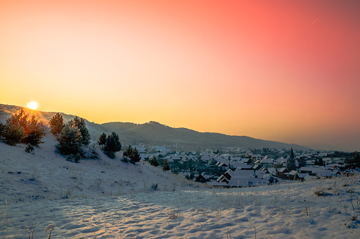 Sunset over village of Benzingerode in Harz mountain - Germany