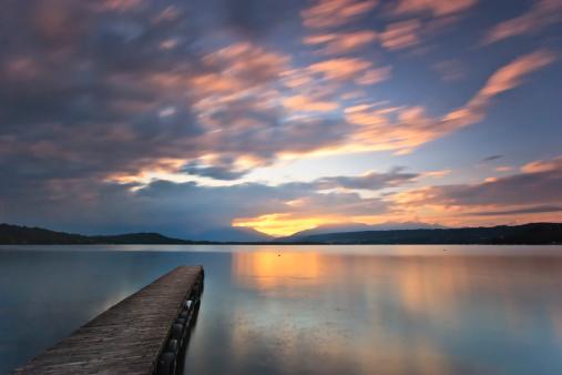 Sunset over Viverone lake