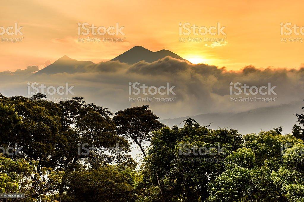 Sunset over volcanoes, Antigua, Guatemala stock photo
