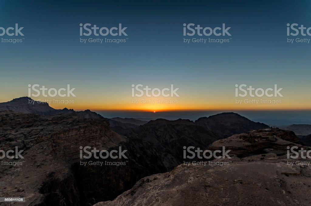 Wadi Musa üzerinden günbatımı stok fotoğrafı