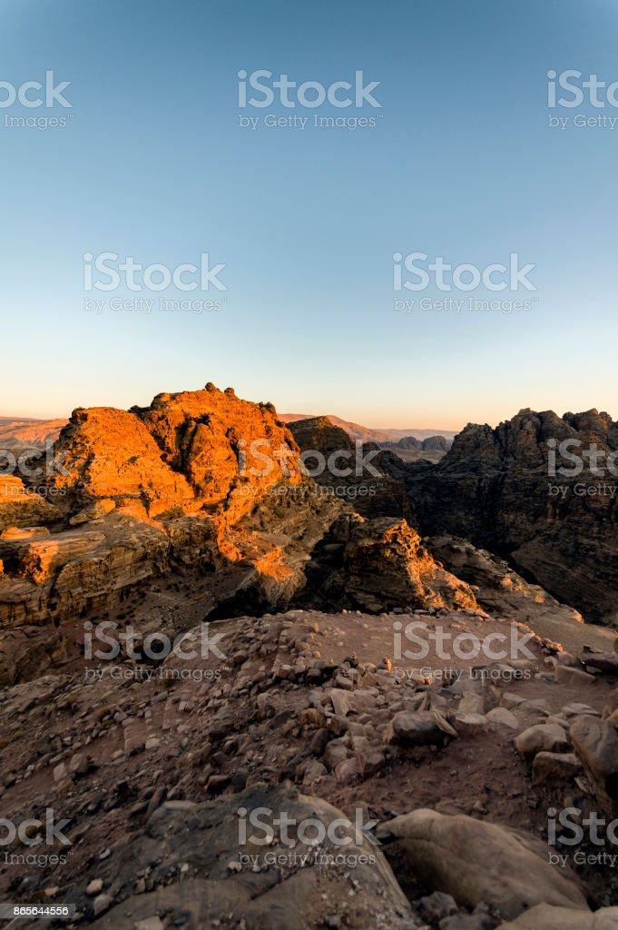 Wadi Musa üzerinden günbatımı royalty-free stock photo
