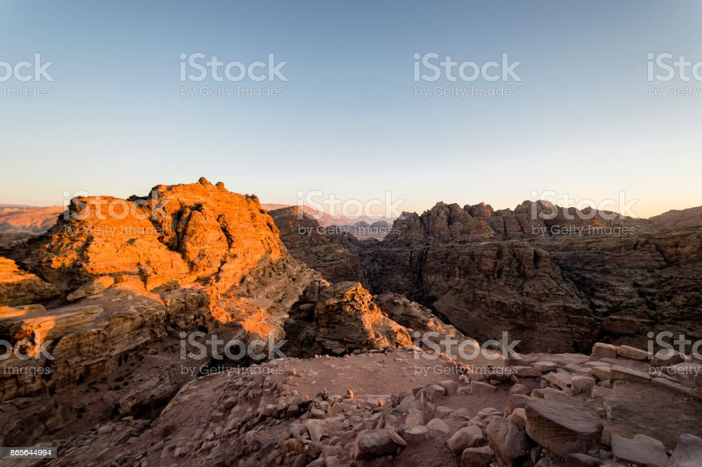 Wadi Musa üzerinden günbatımı royalty-free stock photo