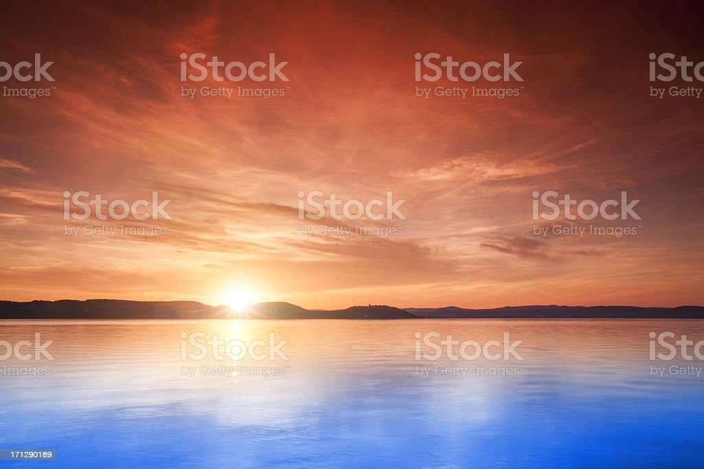 Sunset over water royalty-free stock photo
