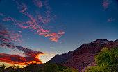 Paria Trail along the Virgin River, Zion Canyon, Zion National Park, Utah, USA