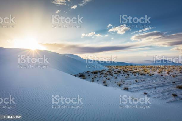 Sunset Over White Sands Desert Dunes New Mexico Usa Stock Photo - Download Image Now