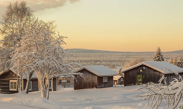 Sunset Over Winter Landscape In Nilivaara Sweden Pictures Images And Stock Photos