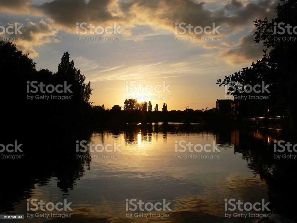 Sunset over Worcester Bridge stock photo