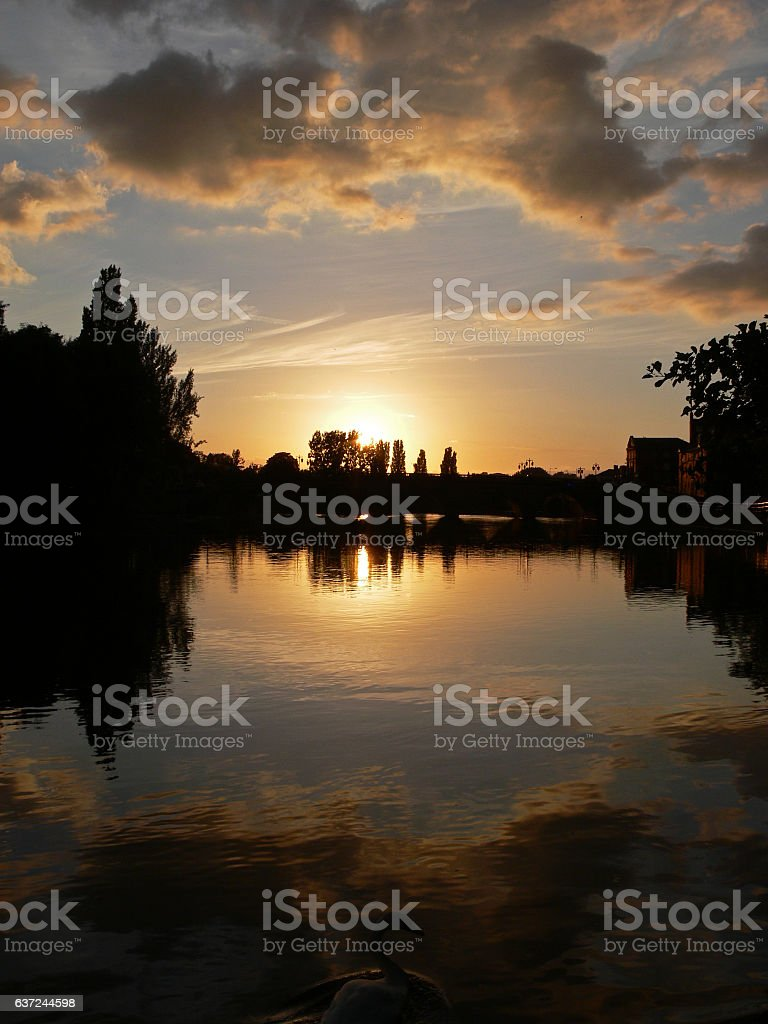 Sunset over Worcester Bridge Portrait stock photo