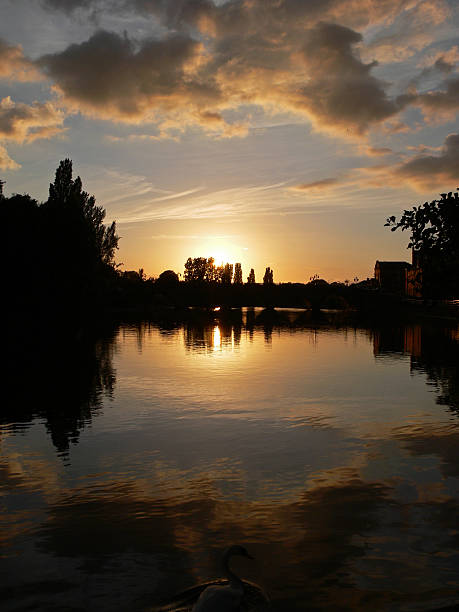 Sunset over Worcester Bridge Portrait stock photo