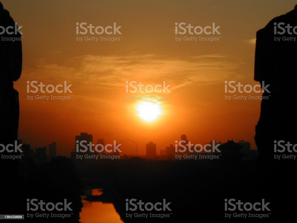 Sunset Over Xian royalty-free stock photo