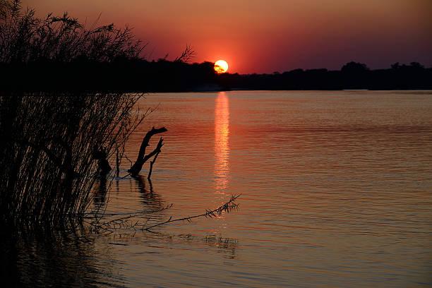 Sunset over Zambezi river, Namibia stock photo