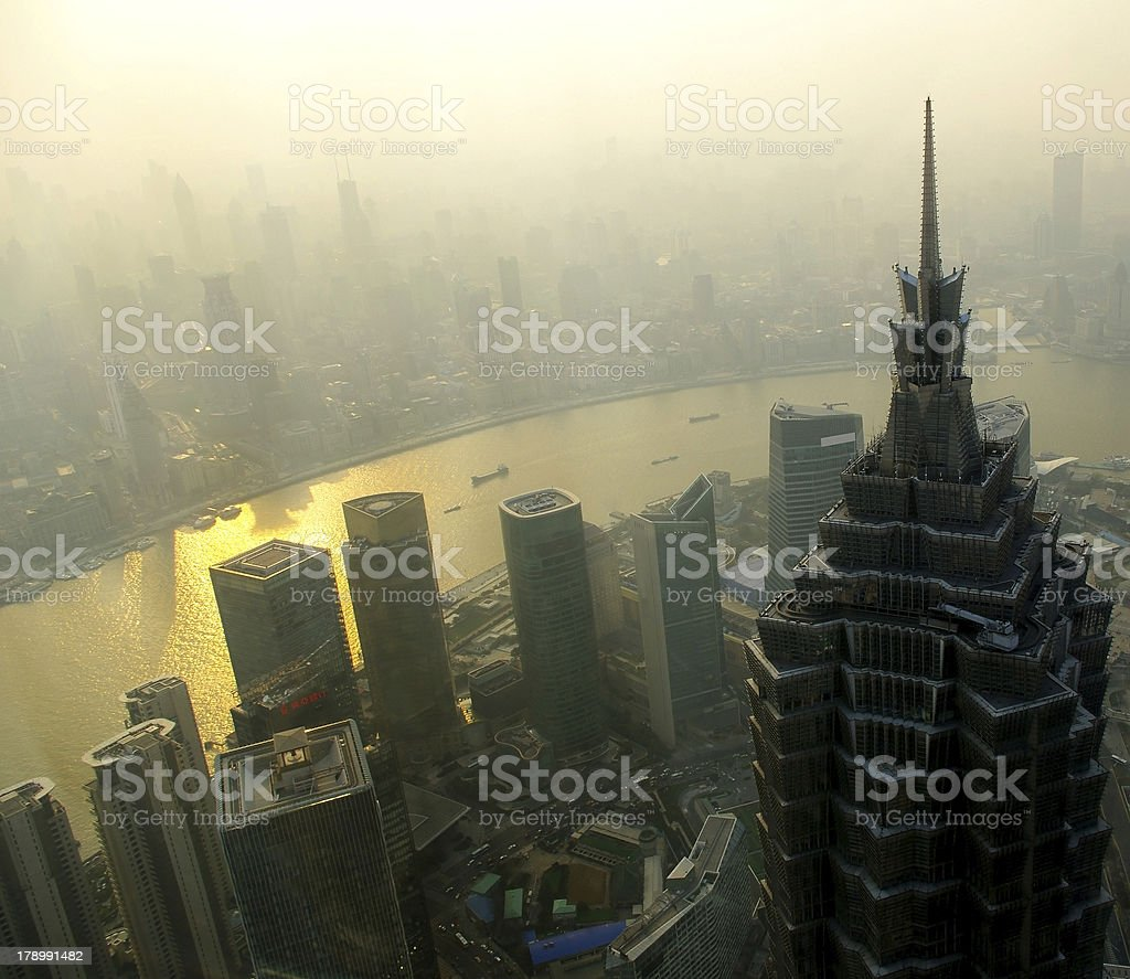 Sunset overlooking Shanghai royalty-free stock photo