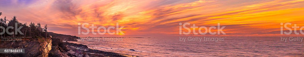 Sunset Pano at Shore Acres State Park, Oregon stock photo