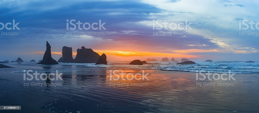 Sunset panorama at Bandon Beach stock photo