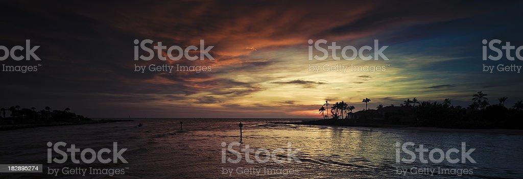 sunset panorama at naples florida stock photo