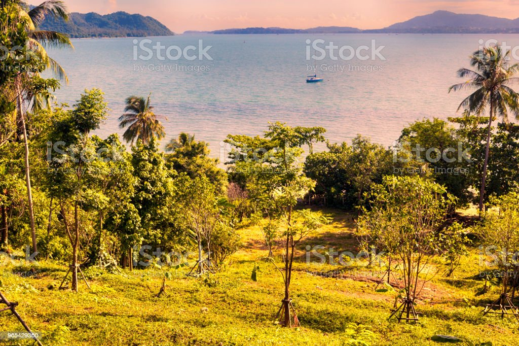 Panorama du coucher du soleil depuis la colline vers l'océan en face de Phuket - Thaïlande - Photo de Archipel libre de droits