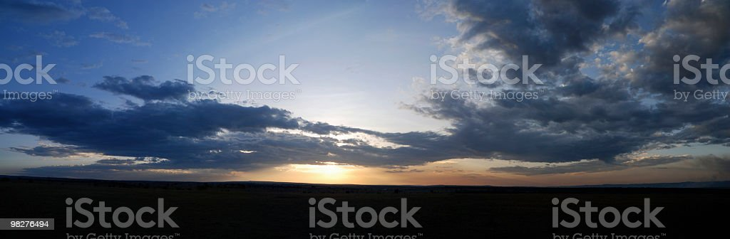 XXL sunset panorama in Serengeti, Tanzania, East Africa royalty-free stock photo