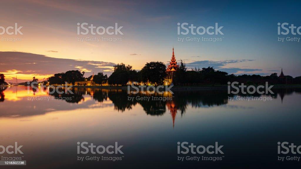 Sunset Panorama Mandalay City Fort Royal Palace Myanmar Burma stock photo