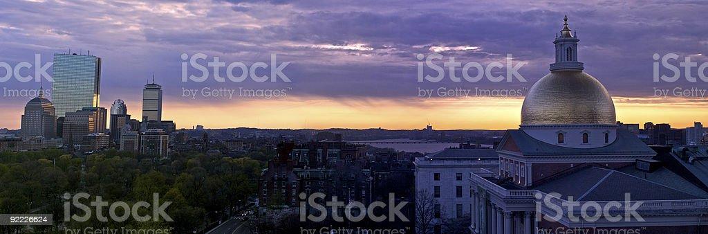 sunset panorama of boston stock photo