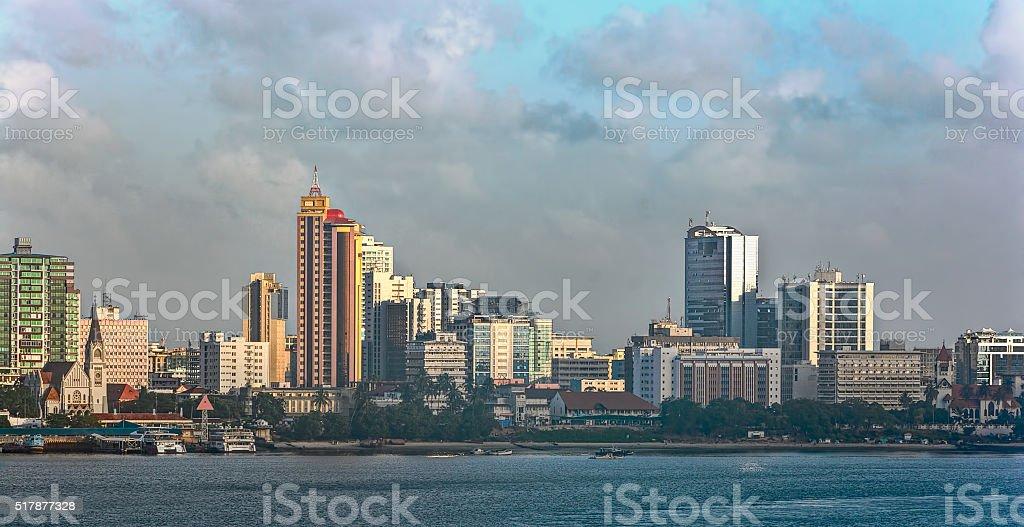 Sunset panorama of Dar Es Salaam City Centre stock photo