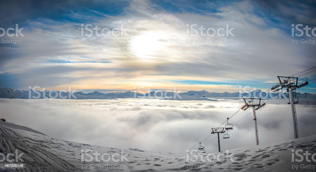 Sunset Panorama over the French Alps stock photo