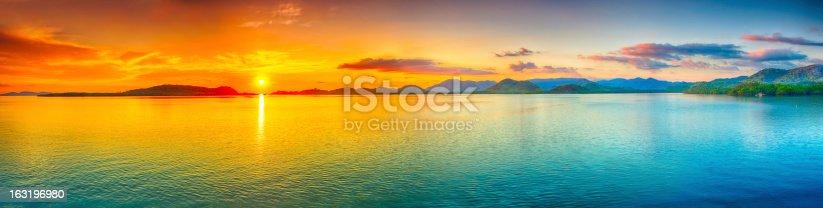 Sunrise over the sea.  Panorama