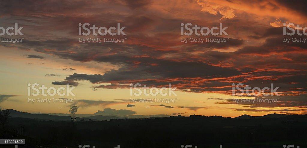 Sunset  Panorama royalty-free stock photo