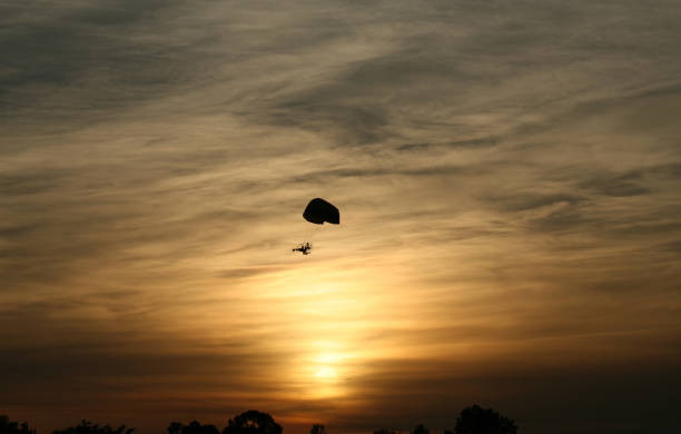 Sunset Paraglider. stock photo