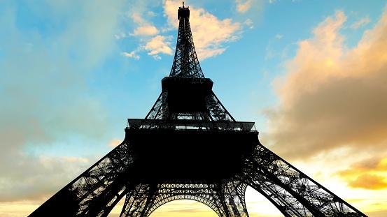 sunset Parisian sky