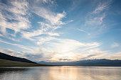 Abeautiful sunset with beautiful clouds