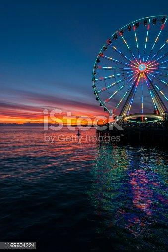 A vivid sunset on Elliott bay.