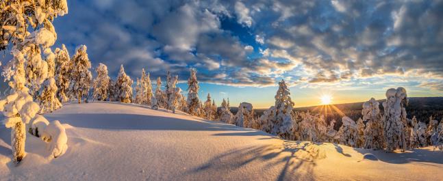 Sunset over finnish Pyhae Luosto Nationalpark