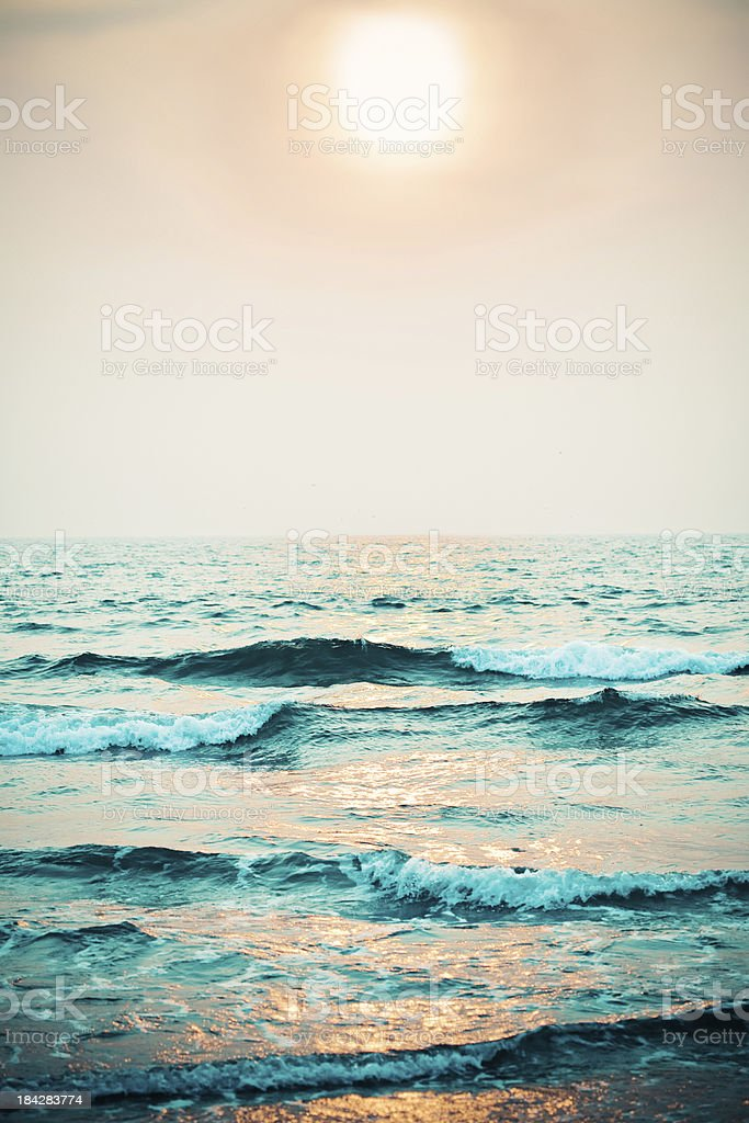Sunset Ocean at sunset.  Backgrounds Stock Photo
